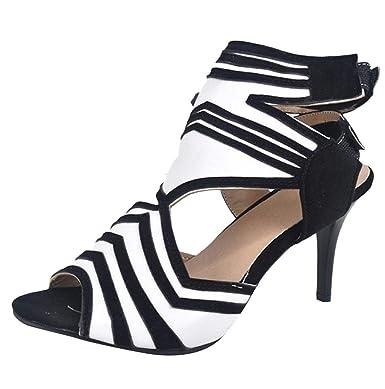 1a0ab9f5c487 Amazon.com  Women Cut Out Clubwear Zebra Stripe Ankle Strap Kitten Heel  Sandals Party Dress Pumps Shoes JHKUNO  Clothing