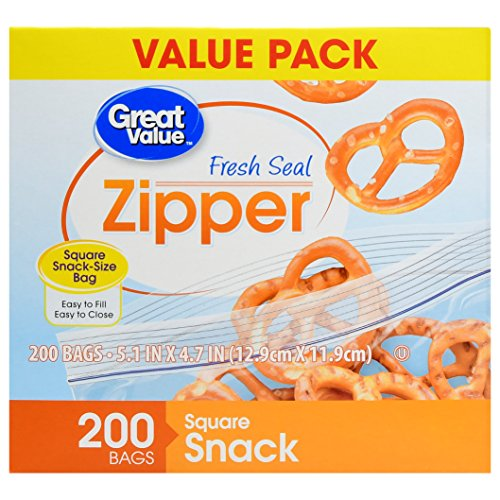 Great Value Zipper Square Snack Bags Value Pack, 200 count - Bag Ct 200