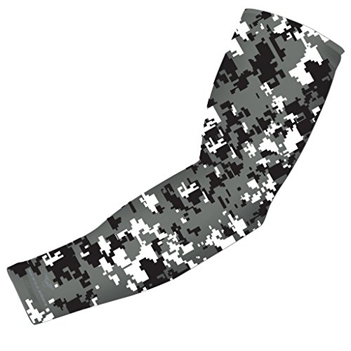 Moisture Wicking Sports Compression Arm Sleeve - Youth & Adult Sizes - Baseball Football Basketball (Black-Gray-White Digital Camo, Small) by Bucwild Sports Adult Small
