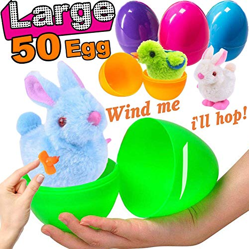 - 50 Party Pack, 50 Large Surprise Easter Eggs Toy Inside 50 Wind-Up Bunny Chics Jumbo Prefilled Plastic Easter Eggs Plush Stuffed Animals Toys Easter Basket Stuffers Girl Boy Easter Party Favors