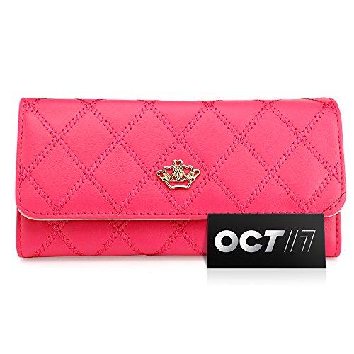 Oct17 Fashion Lady Check Plaid Faux Leather Women Wallet Clutch Long Purse Card Holder Handbag – Hot Pink