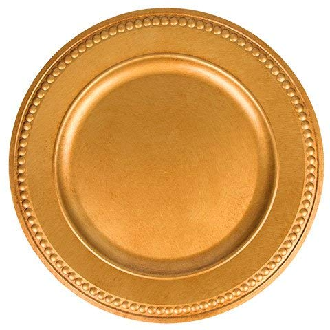 Christmas Antique Gold Plastic Charger Plates with Beaded Rims, 13 in.- Pack Of 3