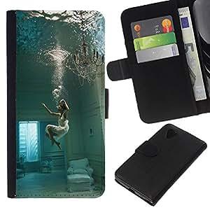 KLONGSHOP // Tirón de la caja Cartera de cuero con ranuras para tarjetas - Sumérgete Hundimiento Melancolía Mujer Profundo - LG Nexus 5 D820 D821 //