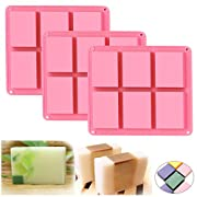Ozera 6 Cavities Silicone Soap Mold (3 Pack), Baking Mold Cake Pan, Biscuit Chocolate Mold, Ice Cube Tray
