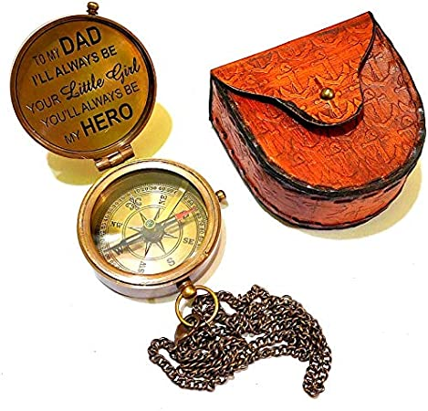 Arsh Nautical Vintage Brass Compass with Handmade Leather Case//E.E Cummings Directional Magnetic Compass for Navigation//Push Button Pocket Compass A