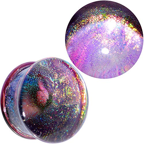 (Body Candy Unisex 2Pc Purple Dichroic Glass Mystic Galaxy Double Flare Plug Ear Plug Gauges Set of 2 3/4