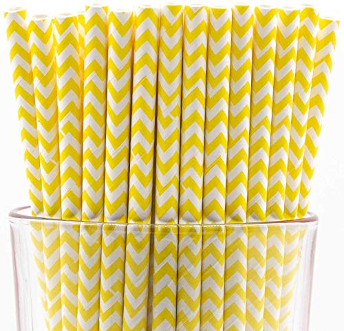 - Pack of 150 Biodegradable Yellow Chevron Paper Drinking Straws (Compostable, Non-toxic, BPA-free)