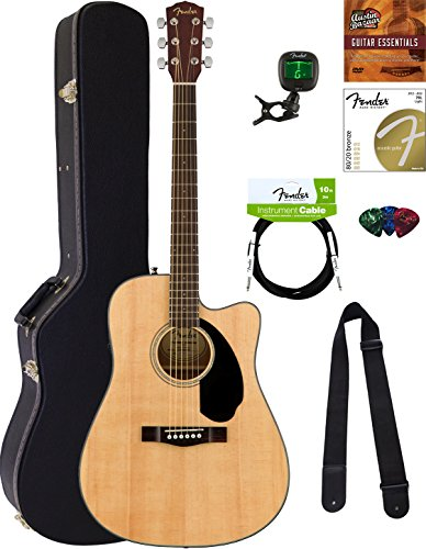 Fender CD-60SCE Dreadnought Acoustic-Electric Guitar – Natural Bundle with Hard Case, Cable, Tuner, Strap, Strings, Picks, Austin Bazaar Instructional DVD, and Polishing Cloth