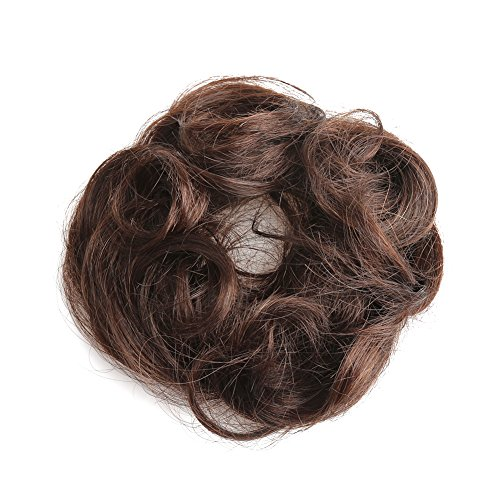 Bella Hair 100% Human Hair Scrunchie Bun Up Do Hair Pieces Wavy Curly or Messy Ponytail Extension (#2 Dark Brown) - Girls Far Out Disco Costumes