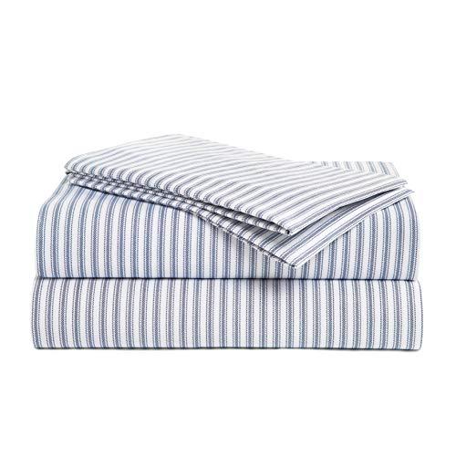 Peru Pima Luxury 415-Thread-Count Percale Peruvian Pima Cotton California King Bed Sheet Set, Nautical Stripe Blue