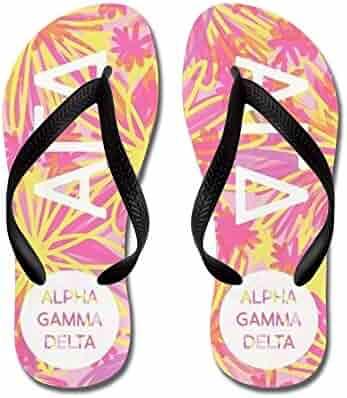 9eb07bfbcfe2 CafePress - Alpha Gamma Delta Tropical Pink - Flip Flops