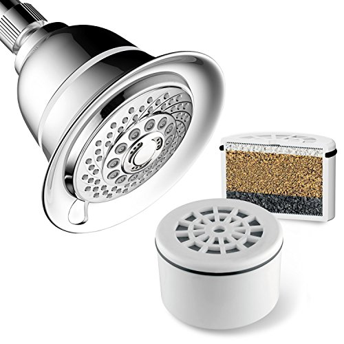 AquaCare By HotelSpa Filtered Shower Head Extra-Large 5 Inch Chrome Face 6 Setting Showerhead with 3...