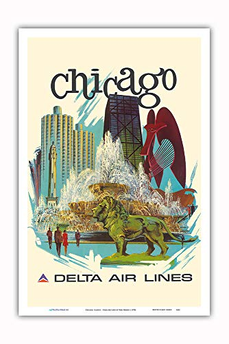 Pacifica Island Art - Chicago, Illinois - Buckingham Fountain, Marina City - Delta Air Lines - Vintage Airline Travel Poster by Fred Sweney c.1970s - Master Art Print - 12in ()