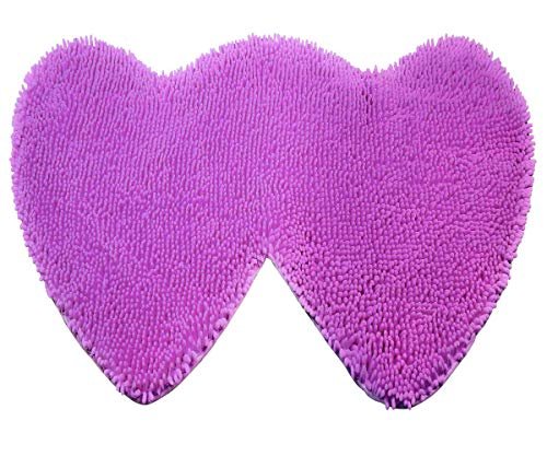 YX-Yami Chenille Double Heart Rugs,Super Soft Anti-Skid Area Rugs Carpet, Bathroom, Bedroom, Stairs and New Home Floor Decorations (Purple)