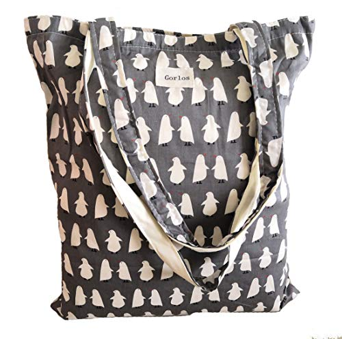 Women's Canvas Tote Shoulder Bag Stylish Shopping Casual Bag Foldaway Travel Bag (Grey penguin)