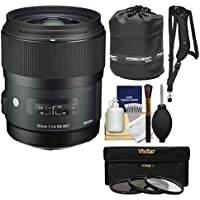 Sigma 35mm f/1.4 Art DG HSM Lens with 3 Filters + Sling Strap + Pouch + Kit for Sony Alpha A-Mount DSLR Cameras