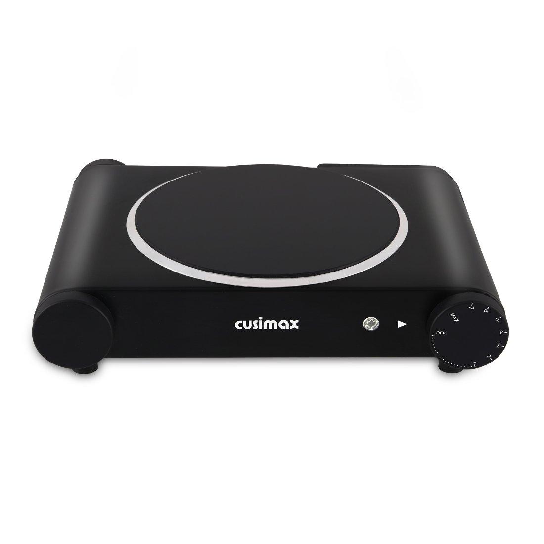 CUSIMAX 1200W Placa de infrarroja con 18 cm de superficie de cocción, Hornillos eléctricos con Temperatura ajustable, Placa de cocción individual, CMIP-B120, Negra