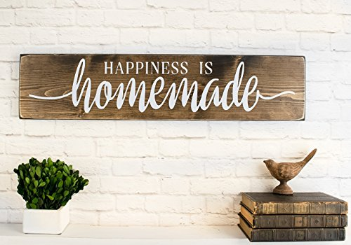 Dark Walnut Happiness is Homemade Wooden Sign - Rustic Farmhouse Wood Handmade Decor (Decor Homemade)