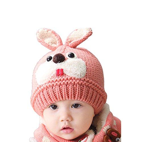 Multifit Toddler Baby Cute Rabbit Ear Hat Winter Warm Cap Kids Crochet Knit Beanie Hat(Pink - Cap Beanie 8.5