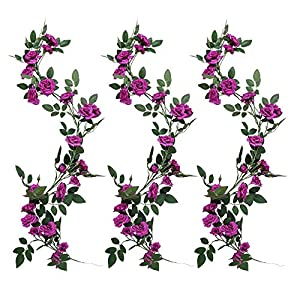 YUYAO 3PCS(9.9FT) Artificial Rose Vines Fake Silk Flower Garlands Plant Hanging Rose Vine Garland Wedding Home Garden Arch Arrangement Decoration (Purple) 2