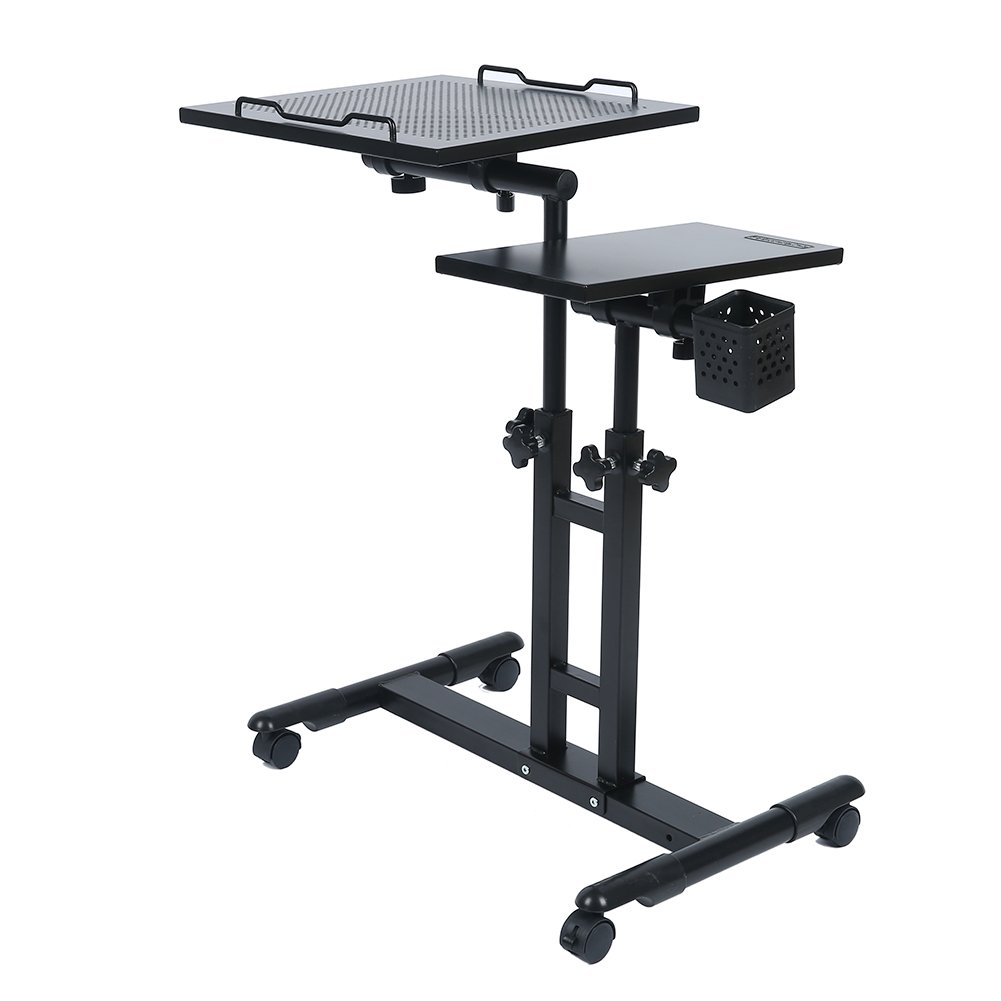 Redscorpion Adjustable Height Rolling Mobile Laptop Desk Table Computer Desk Cart Over Sofa Bed Table(Black) by Redscorpion (Image #3)