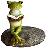 Top Collection Miniature Fairy Garden and Terrarium Frog Reading on Stone Statue