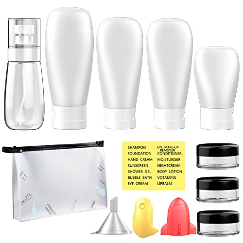 Plastic Clear Travel Bottles Spray Bottles TSA Approved Leak Proof for Shampoo Liquids,Travel Creams Jars Containers with Toiletry Bag Toothbrush ()
