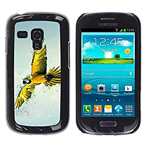 TECHCASE**Cubierta de la caja de protección la piel dura para el ** Samsung Galaxy S3 MINI NOT REGULAR! I8190 I8190N ** Parrot Yellow Blue Colorful Flying Bird Nature