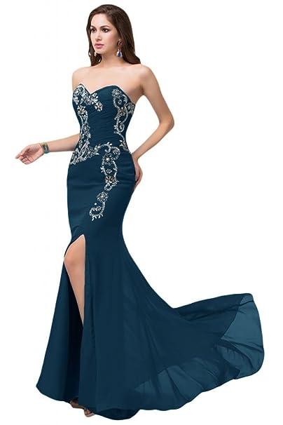 Sunvary Vintage mujeres bordado Sexy Slit Prom noche vestidos elegante