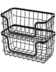 Amazon Basics Stackable Metal Wire Storage Basket Set for Kitchen or Bathroom - Black/Rose Gold