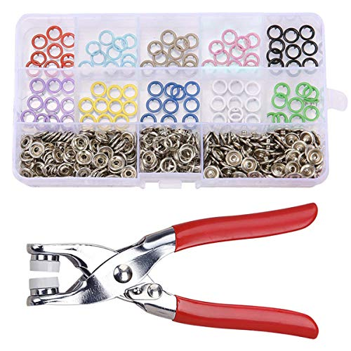 DFUTE Snap Fasteners Kit 100 Sets/9.5 MM/10 Colors, Metal Snaps for Clothing, Snap Button with Snaps Pliers and Storage Containers, Sewing Snaps for Leather, Coat, Down Jacket, Jeans Wear, Bags