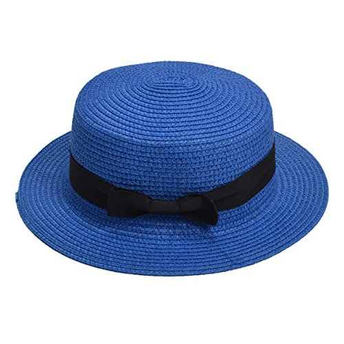 Lawliet Womens Straw Boater Hat Fedora Panama Flat Top Ribbon Summer A456 (Royal Blue)]()