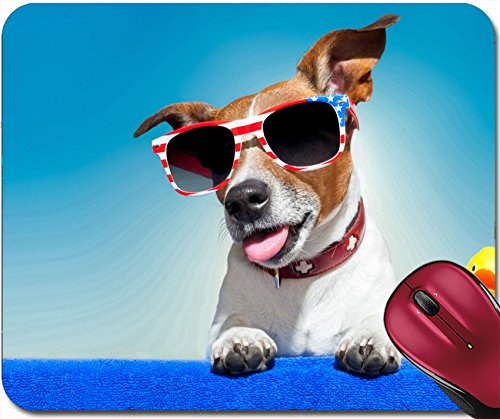 Liili Mousepad ID: 27303225 dog sunbathing on ab blue towel with a plastic duck and fancy - Imprinted Cheap Sunglasses