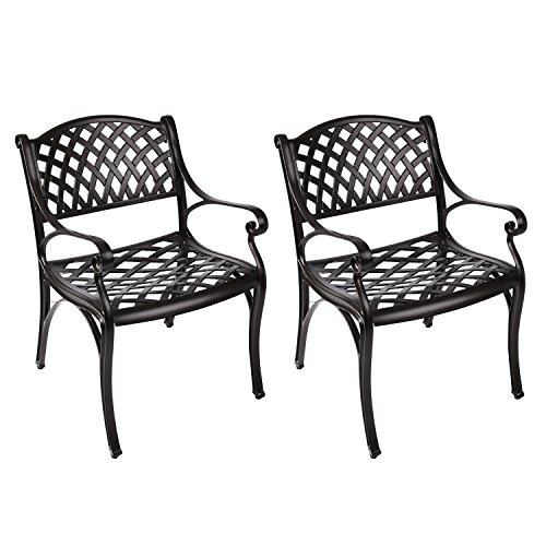 PULUOMIS Outdoor Cast Aluminum Dining Chairs, Antique Bronze Finish Patio Furniture with Bistro Arm, Set of - Arm Aluminum Chairs