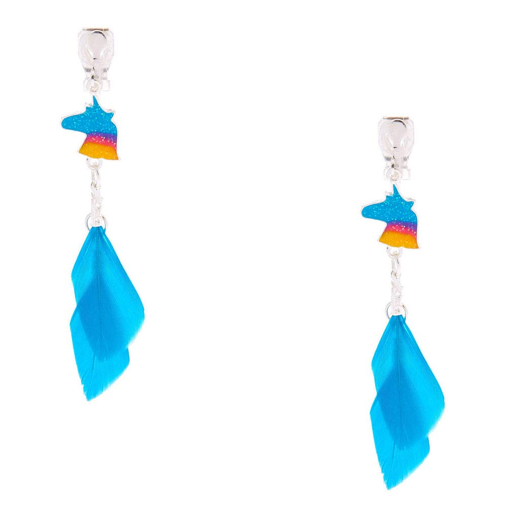 Claires Girls Silver 2 Unicorn Feather Clip On Drop Earrings Turquoise