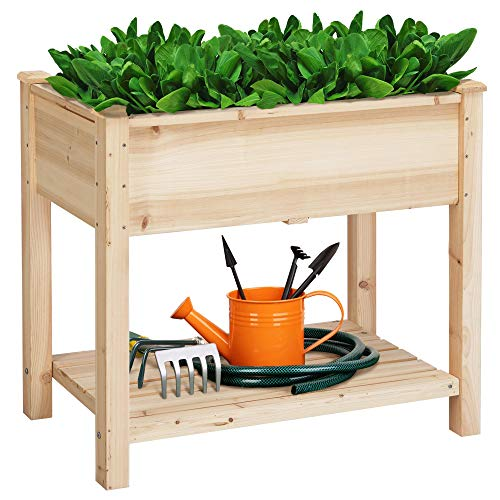 YAHEETECH Wooden Raised Elevated Garden Bed Kit with Legs Planter Flower Herb Boxes for Vegetables Flower with Shelf…