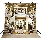 DePhoto 10x10Ft Seamless Villa Double Stairs Vinyl Photography Backdrop Photo Background Studio Prop PGT004