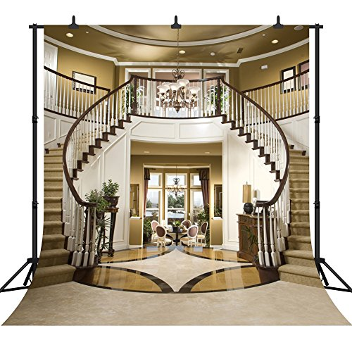 DePhoto 10x10Ft Seamless Villa Double Stairs Vinyl Photography Backdrop Photo Background Studio Prop PGT004]()