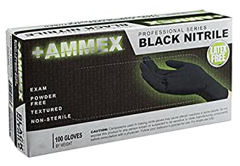 AMMEX - ABNPF42100-BX - Medical Nitrile Gloves - Disposable, Powder Free, Exam Grade, 4 mil, Small, Black (Box of 100)