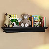BGT Black Traditional Kids Room Wall Shelf 24 x 6 Inches Children's Stylish Floating Ledge Shelf