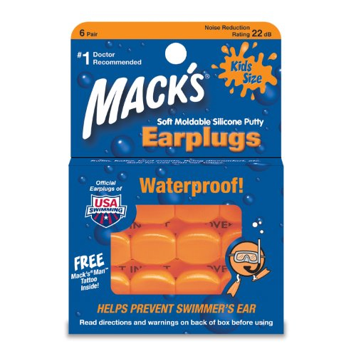 Macks Moldable Silicone Ear Plugs, Kids Size, 6 Pair (Pack of ()