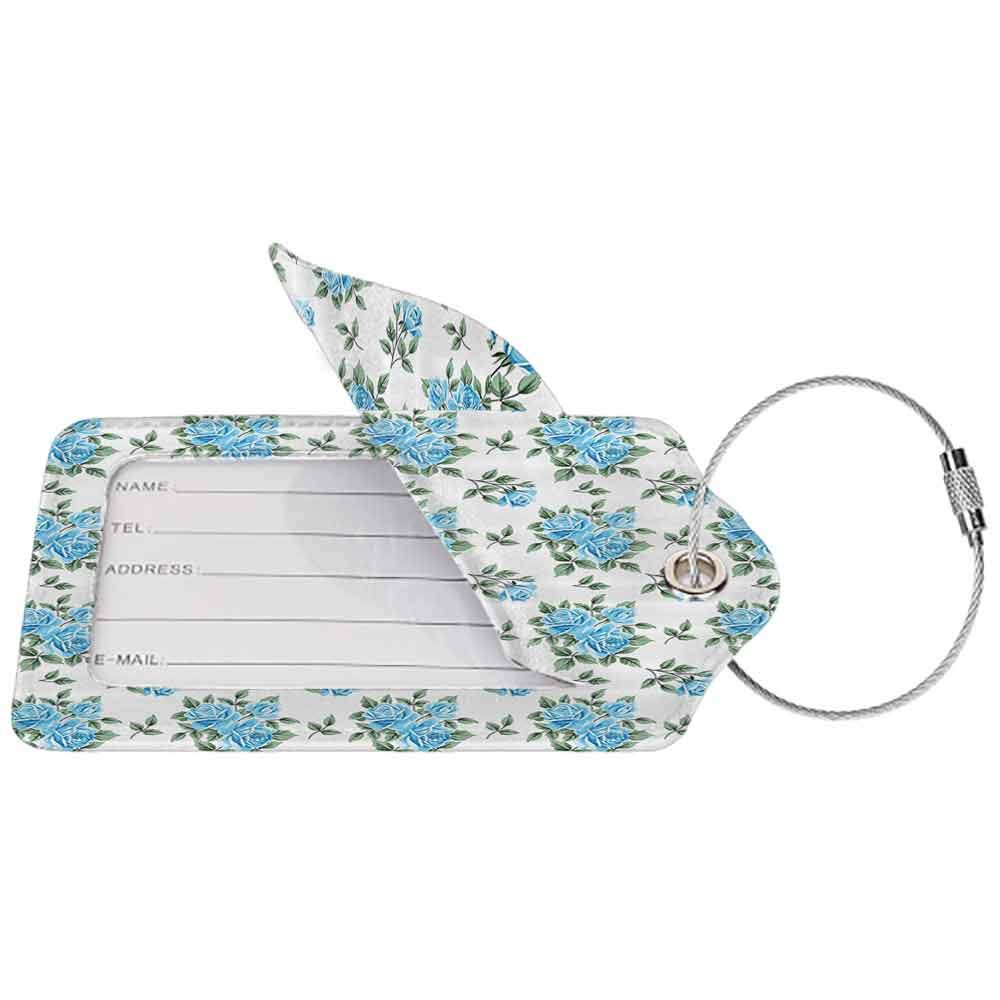 Durable luggage tag Roses Decorations Collection Roses Affection Congratulating European Gardening Fabric Design Style Art Unisex Blue Green W2.7 x L4.6