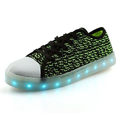 Occhiali Idea Picco Bambini Mens Donna Led Ricarica Usb Scarpe Sneakers Basse Flyknit Nero / Verde