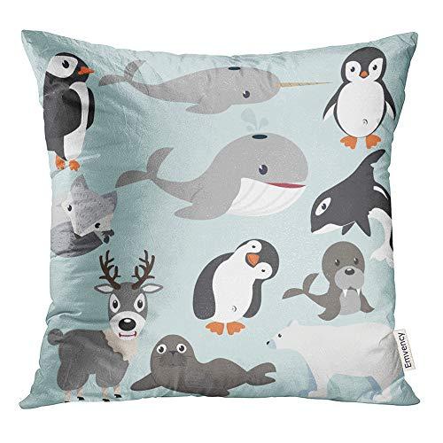 Emvency Throw Pillow Cover Print 20 x 20 Inch Square Zipper Polar Artic Animals Cartoon Collection Bear Penguin Polyester Home Sofa Decorative Case