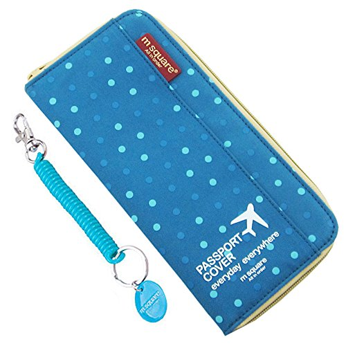 M Square Waterproof Multi-function Zippered Travel Passport Wallet Credit Debit Card Document Holder Cover MS-T1516 (Blue Point Wave)