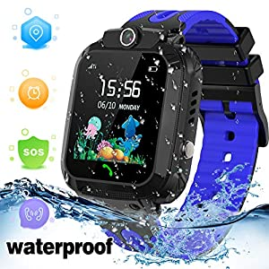 """Kids Smart Watch Waterproof with GPS Tracker Phone Smartwatch SOS Game Voice Chat 1.44"""" Touch Screen for Boys Girls…"""