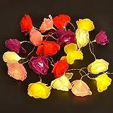 Catena di 20 LED luci festivi nella forma di fiori di rosa - operata a batteria - multicolorata: rose, rosse, bianche, gialle, e viola
