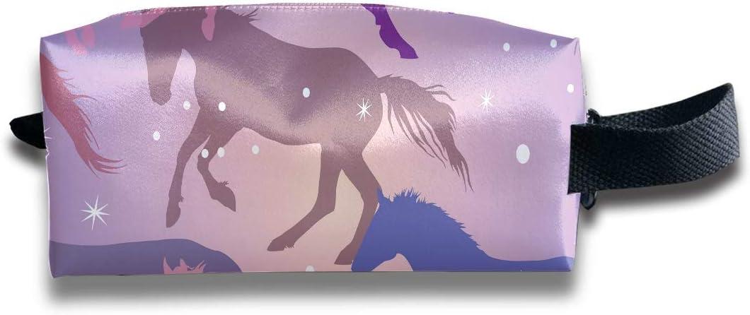 Organizador de bolsas de maquillaje Caballos coloridos y chispas en púrpura Pequeña bolsa de cosméticos Cuadrada Una bolsa de cosméticos de gran capacidad con cremallera para mujeres y niñas Uso dia