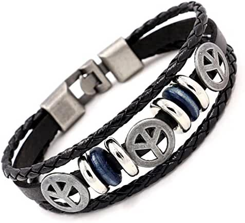 Handmade Punk bracelet for Man - Retro Genuine Leather Cuff Wrap Bracelet