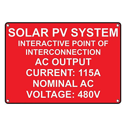 Weatherproof Plastic Solar PV System Interactive Point Of Interconnection Sign with English Text